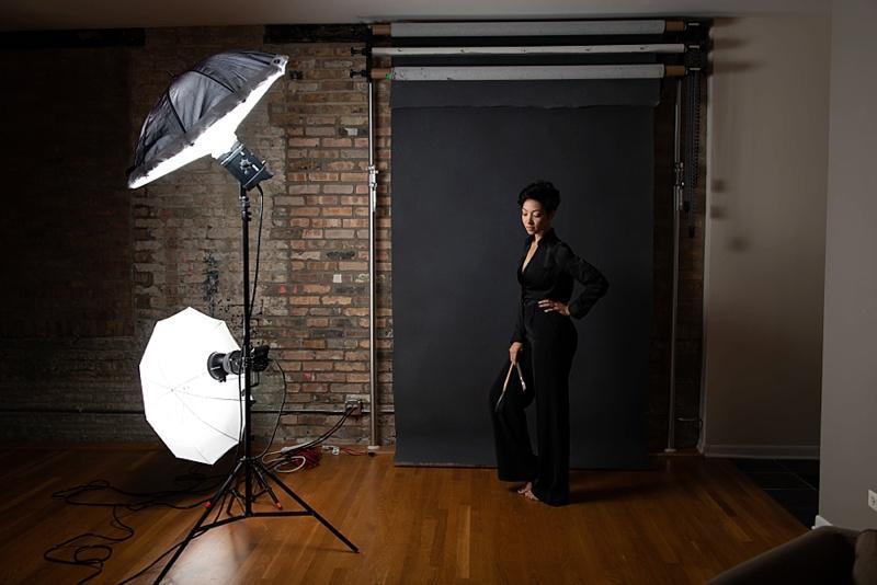 Behind the Scenes studio shot, Studio lighting pull-back, Dramatic studio portraits chicago, Studio Branding Photos, commercial photographer chicago, studio photography, moody photos, artist portraits